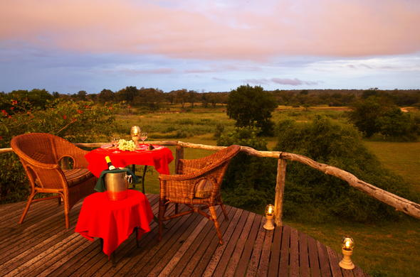 Romantic dinner at Mala Mala Game Reserve.